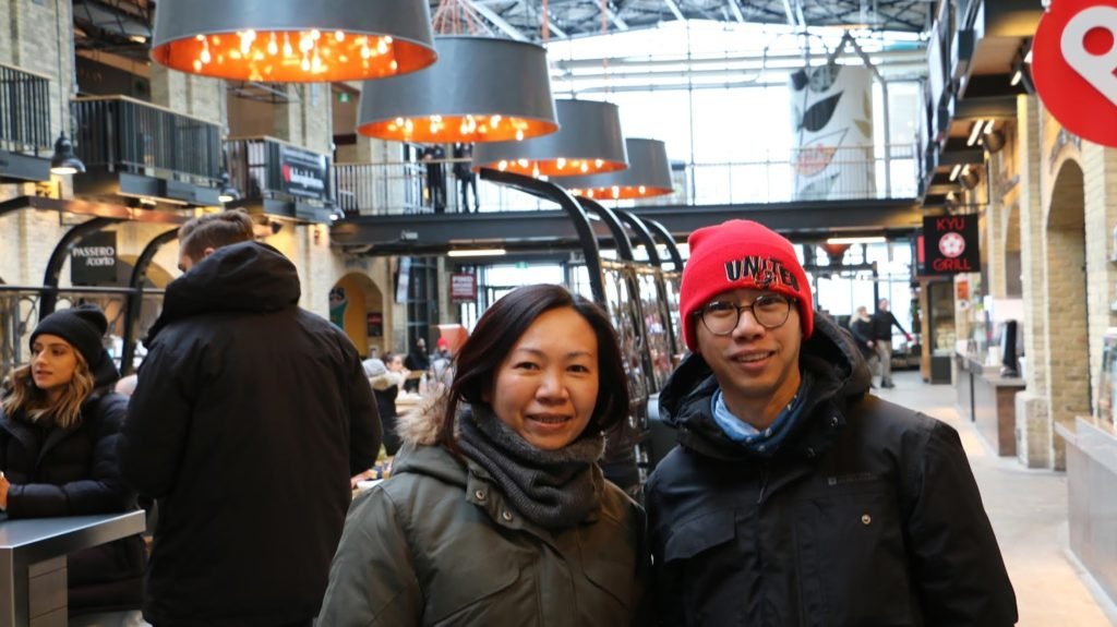 Stanley and Elaine inside The Forks Market!